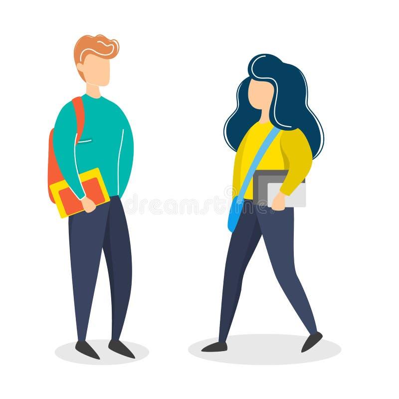 Estudiante de la muchacha y del muchacho en ropa casual car?cter joven ilustración del vector