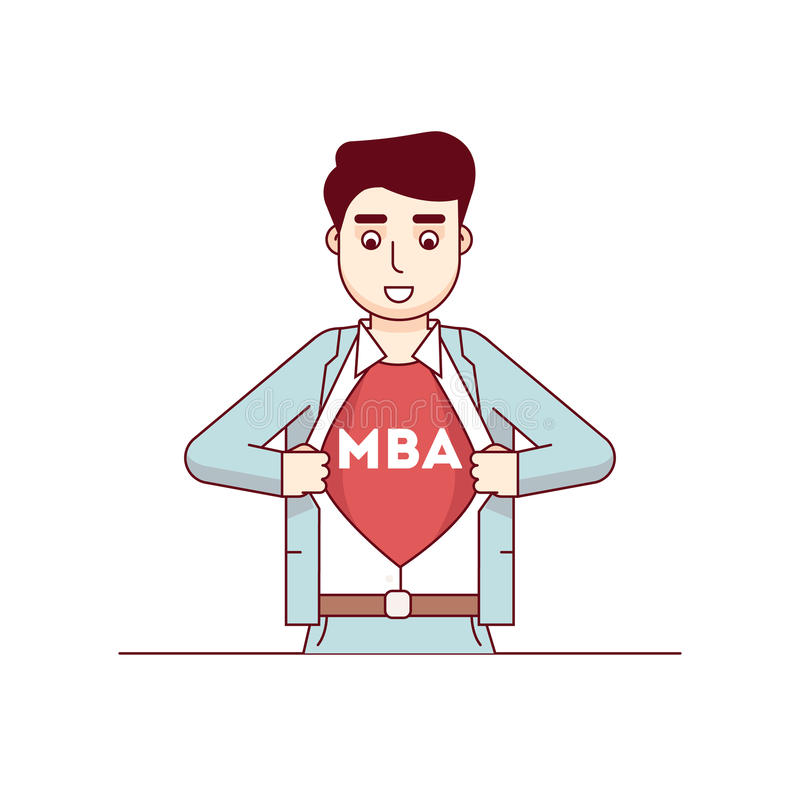 Estudiante de MBA que muestra letras en su pecho ilustración del vector