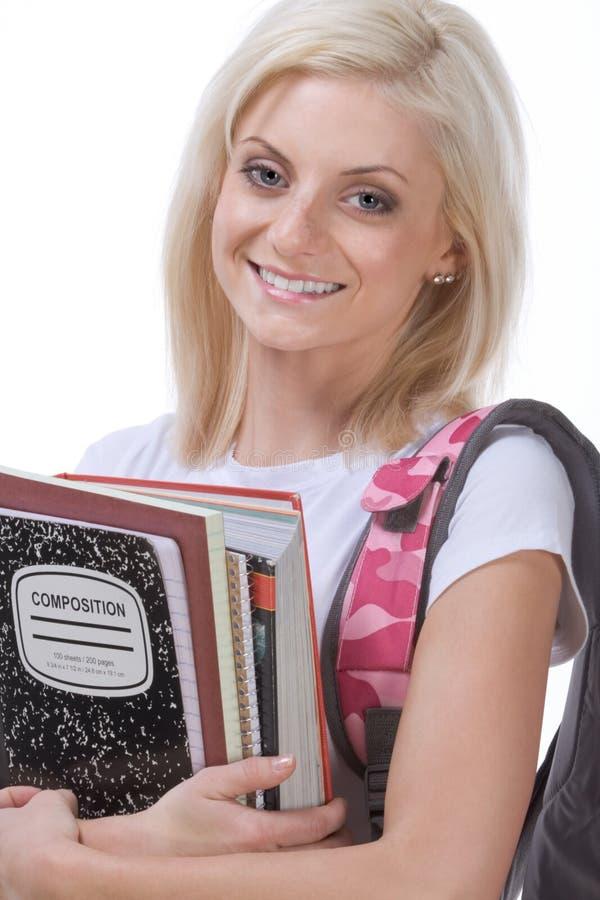 Estudiante de mujer de la colegiala de la universidad o de la High School secundaria fotografía de archivo