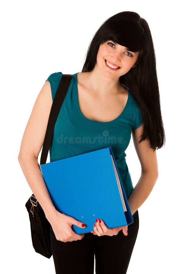 Estudiante de mujer joven con la cartera y carpeta aislada fotos de archivo libres de regalías