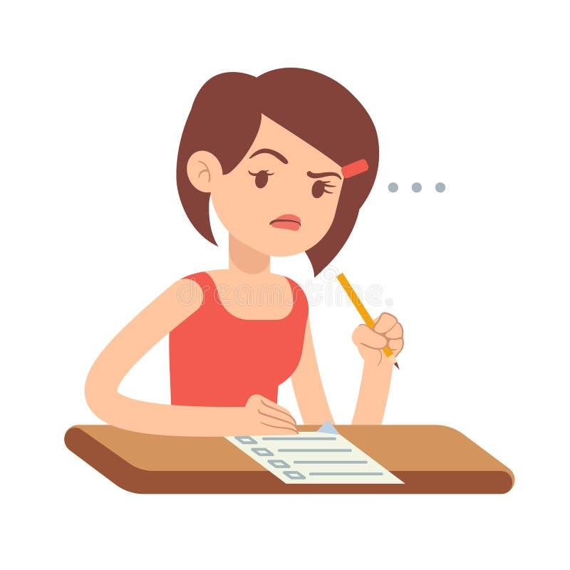 Estudiante de mujer joven preocupante loco en pánico en el ejemplo del vector del examen ilustración del vector