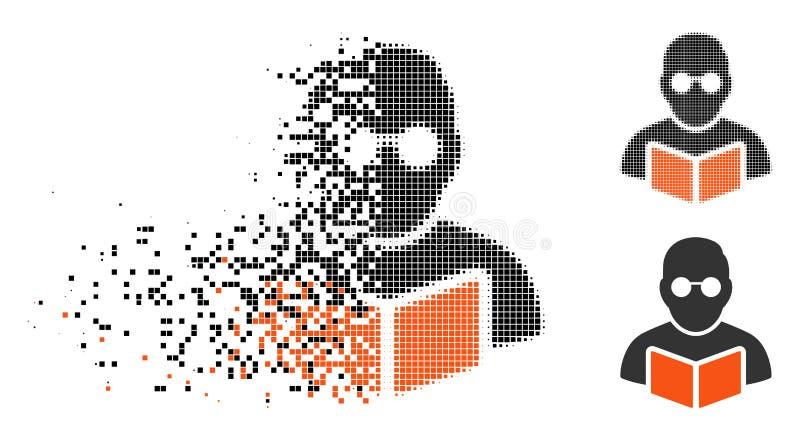 Estudiante de semitono de desintegración Reading Book Icon de Pixelated stock de ilustración