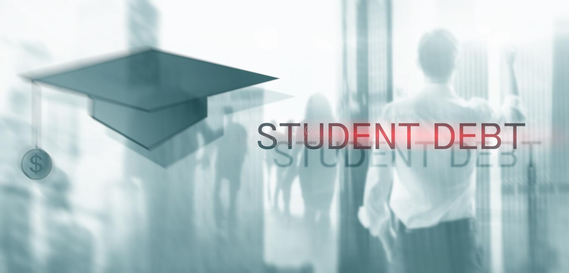 Estudiante Debt Educaci?n y esclavitud del concepto Siluetas del estudiante foto de archivo