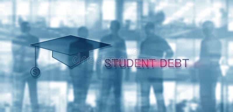 Estudiante Debt Educaci?n y esclavitud del concepto Siluetas del estudiante fotografía de archivo libre de regalías