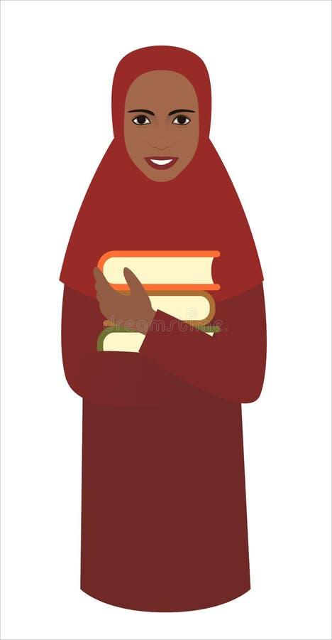 Estudiante del Afro en hijab rojo con la pila de libros de texto en las manos, realista lindo libre illustration