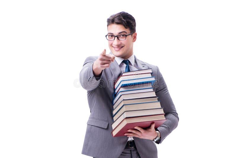 Estudiante del hombre de negocios que lleva sosteniendo la pila de libros aislados en w imágenes de archivo libres de regalías
