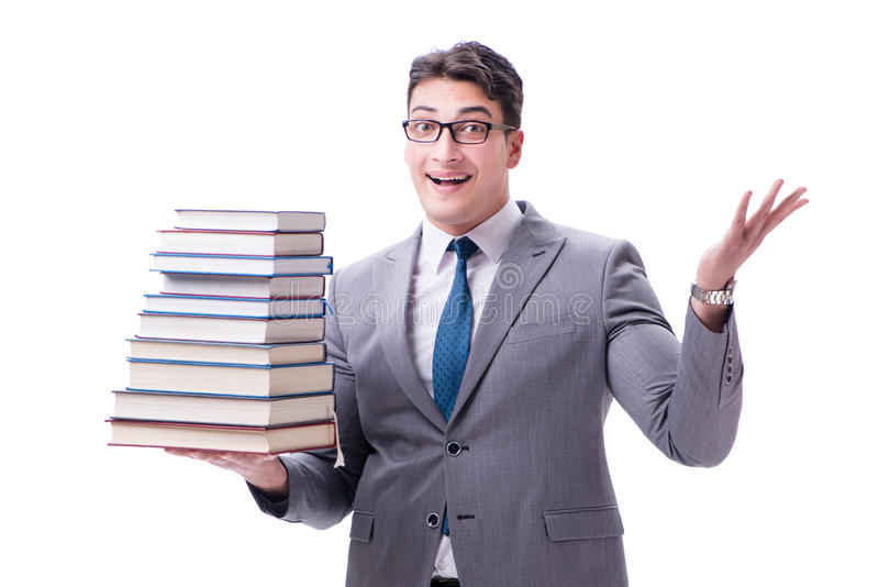 Estudiante del hombre de negocios que lleva sosteniendo la pila de libros aislados en w imagen de archivo libre de regalías