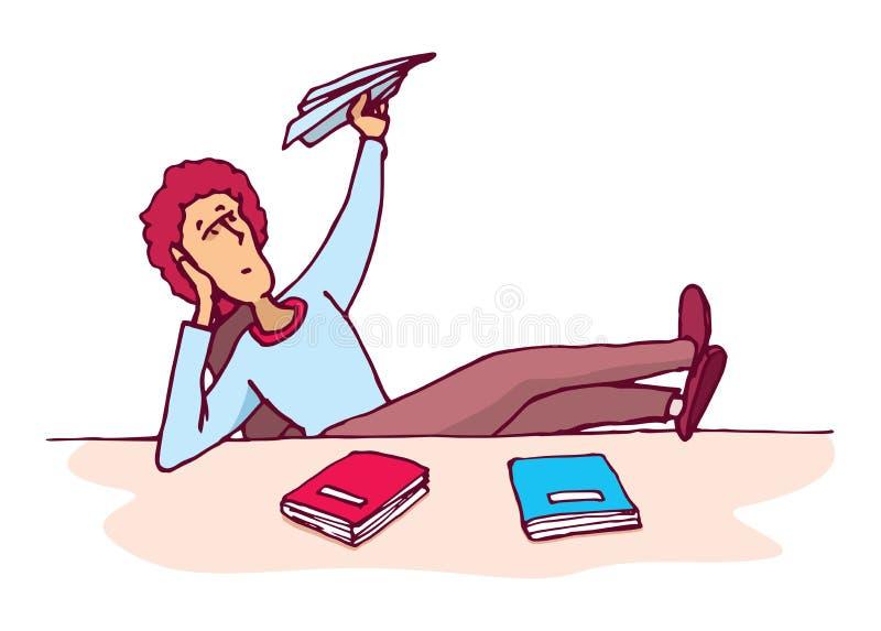 Estudiante distraído que lanza un avión de papel stock de ilustración
