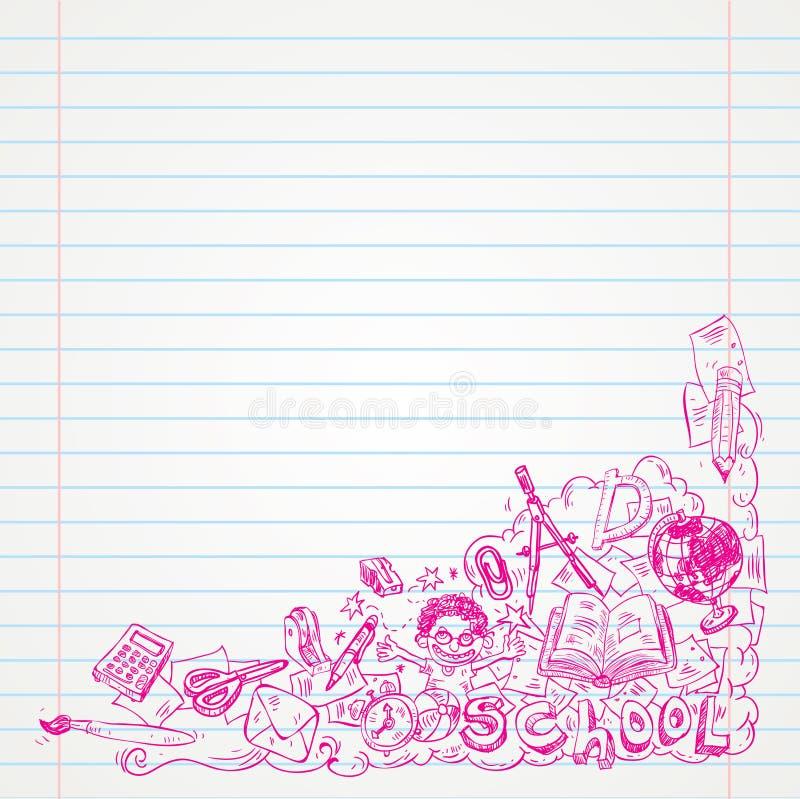 Estudiante Doodle en el papel, de nuevo al ejemplo del Sketchbook de la escuela libre illustration