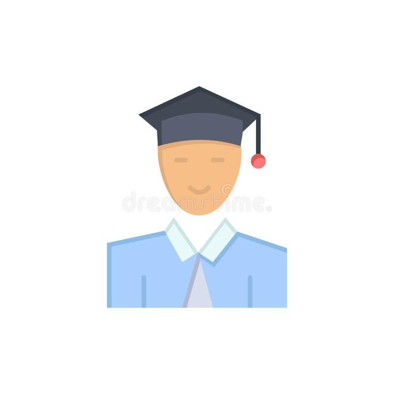 Estudiante, educación, graduado, aprendiendo el icono plano del color Plantilla de la bandera del icono del vector stock de ilustración