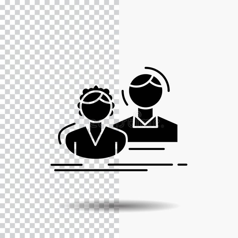 estudiante, empleado, grupo, par, icono del Glyph del equipo en fondo transparente Icono negro stock de ilustración