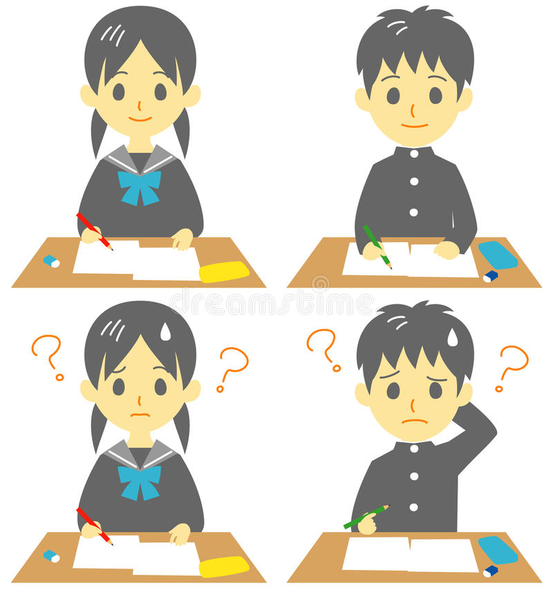Estudiante en clase stock de ilustración