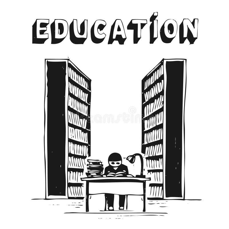 Estudiante en la biblioteca libre illustration