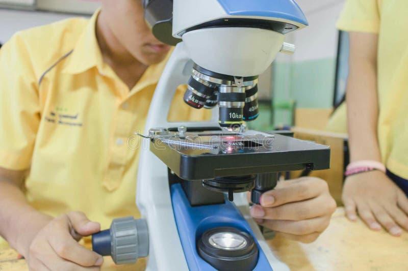 Estudiante en laboratorio de ciencia imagen de archivo