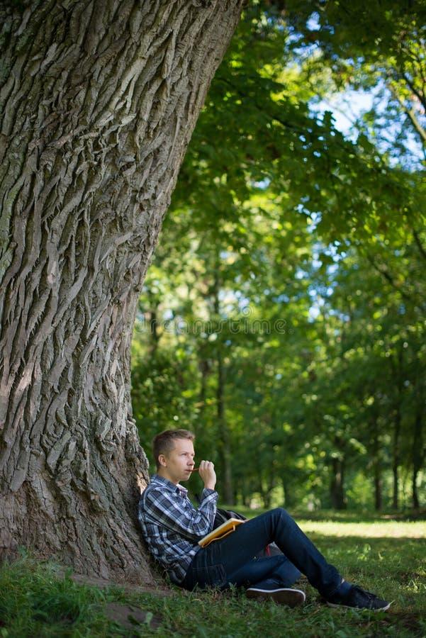Estudiante en parque del campus imagen de archivo