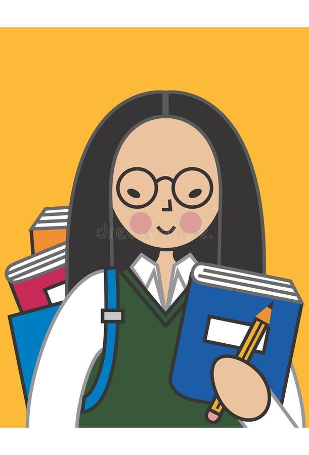 Estudiante femenino asiático ilustración del vector