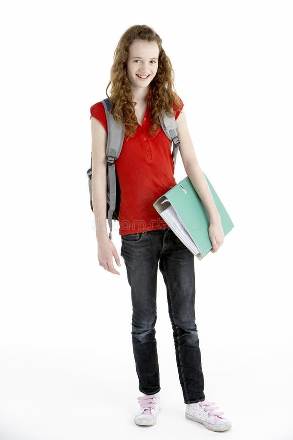 Estudiante femenino joven con el morral fotografía de archivo