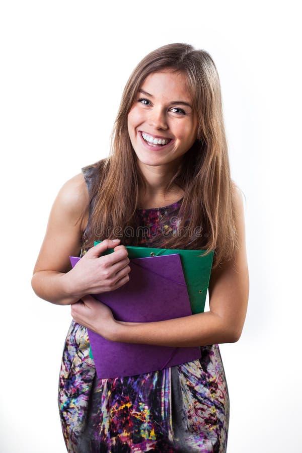 Estudiante femenino sonriente agraciado fotos de archivo