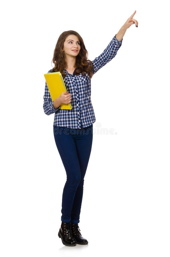 Estudiante joven aislado en blanco imagen de archivo