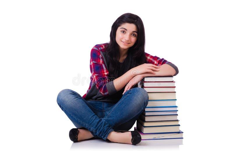 Estudiante joven con los libros aislados fotografía de archivo