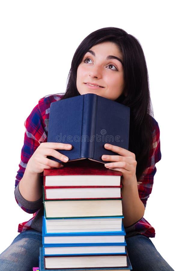 Estudiante joven con los libros aislados fotografía de archivo libre de regalías