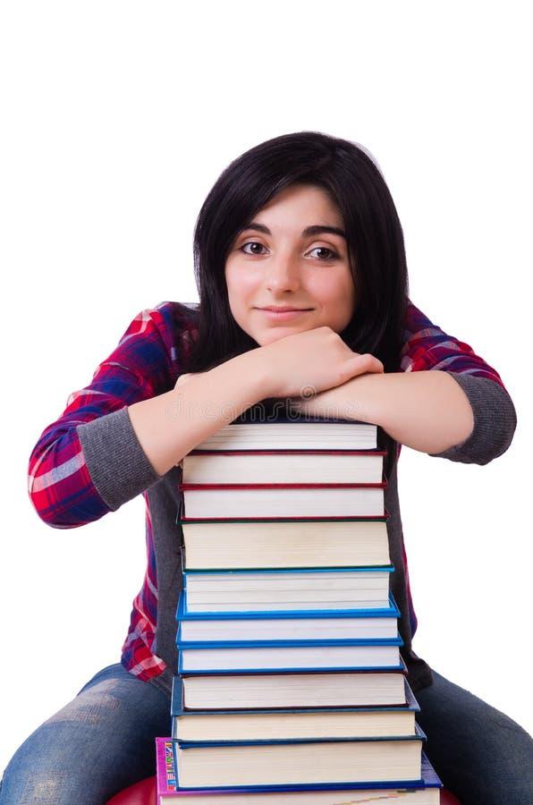Estudiante joven con los libros aislados foto de archivo