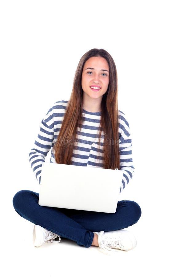 Estudiante joven hermoso con un ordenador portátil imagen de archivo