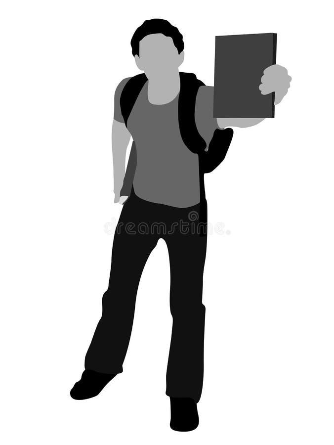 Estudiante joven que muestra su libro ilustración del vector