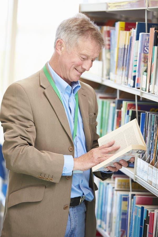 Estudiante maduro masculino Studying In Library fotos de archivo libres de regalías