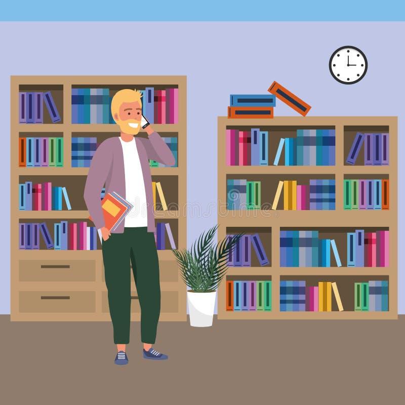 Estudiante milenario que usa smartphone en biblioteca libre illustration