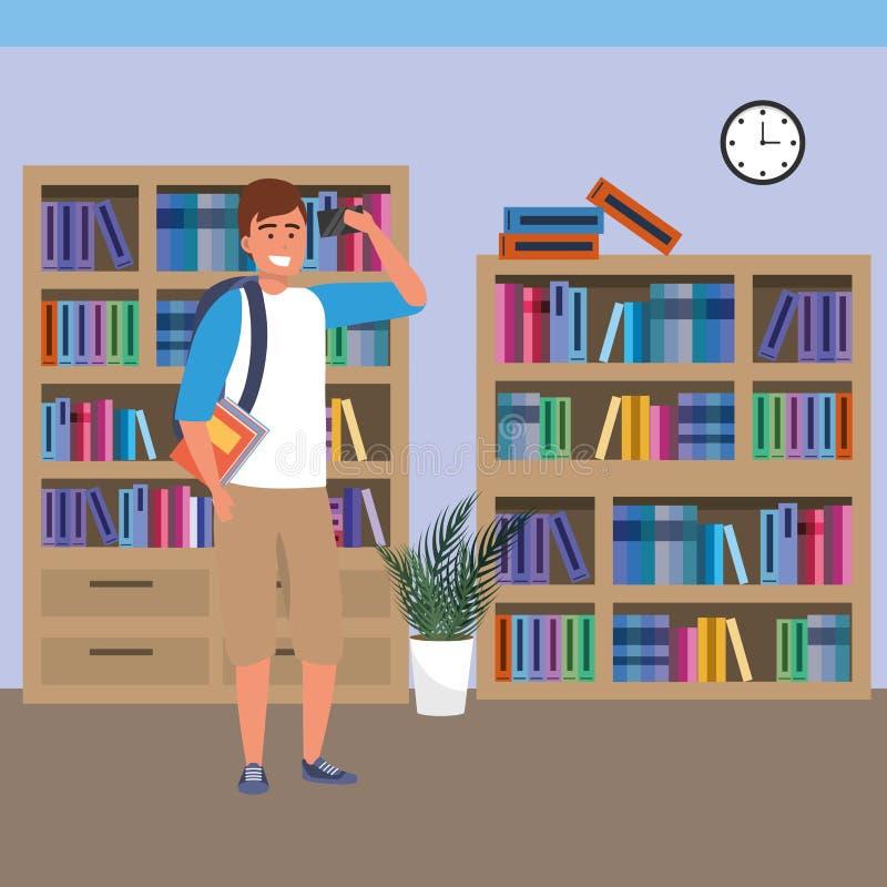 Estudiante milenario que usa smartphone en biblioteca ilustración del vector