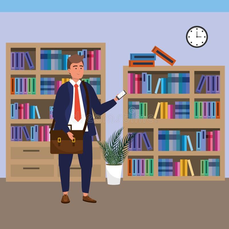 Estudiante milenario que usa smartphone en biblioteca stock de ilustración