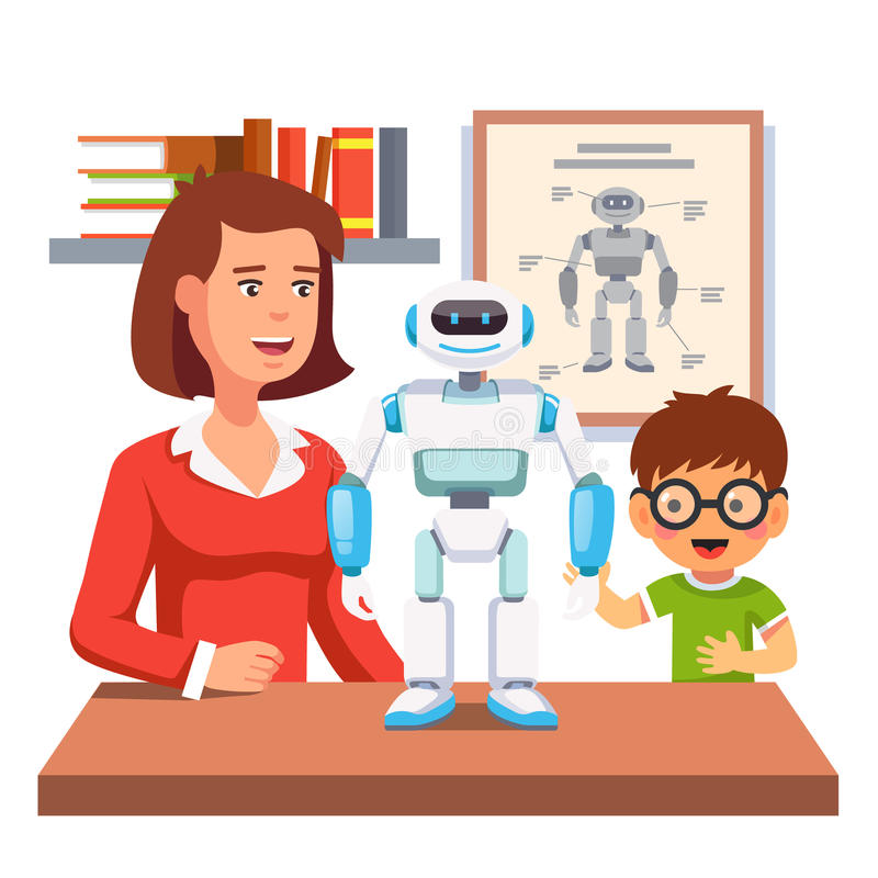 Estudiante que aprende la robótica con el profesor y el robot stock de ilustración