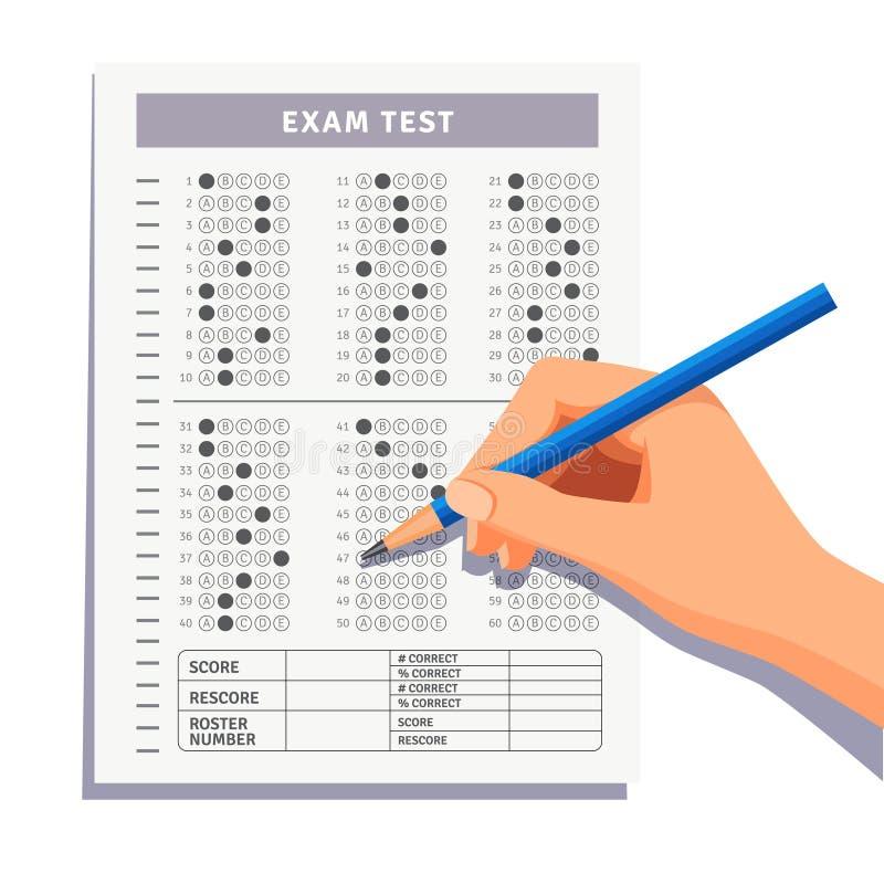 Estudiante que completa respuestas a la prueba del examen ilustración del vector