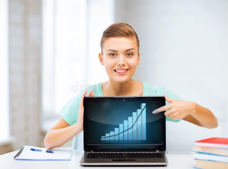 Estudiante que muestra el ordenador portátil con el gráfico foto de archivo