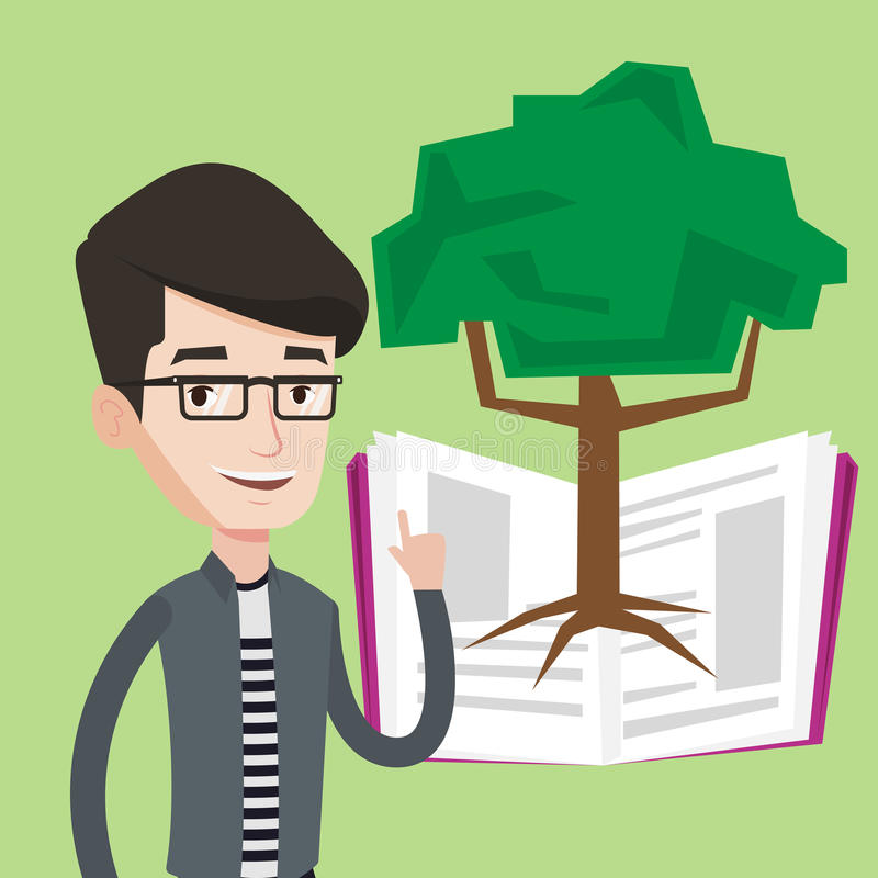 Estudiante que señala en el árbol del conocimiento libre illustration
