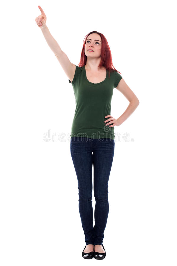 Estudiante que señala para arriba sobre su cabeza fotos de archivo libres de regalías
