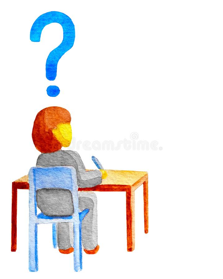Estudiante que se sienta en el escritorio de madera en la silla Sobre el signo de la interrogación principal del estudiante La co ilustración del vector