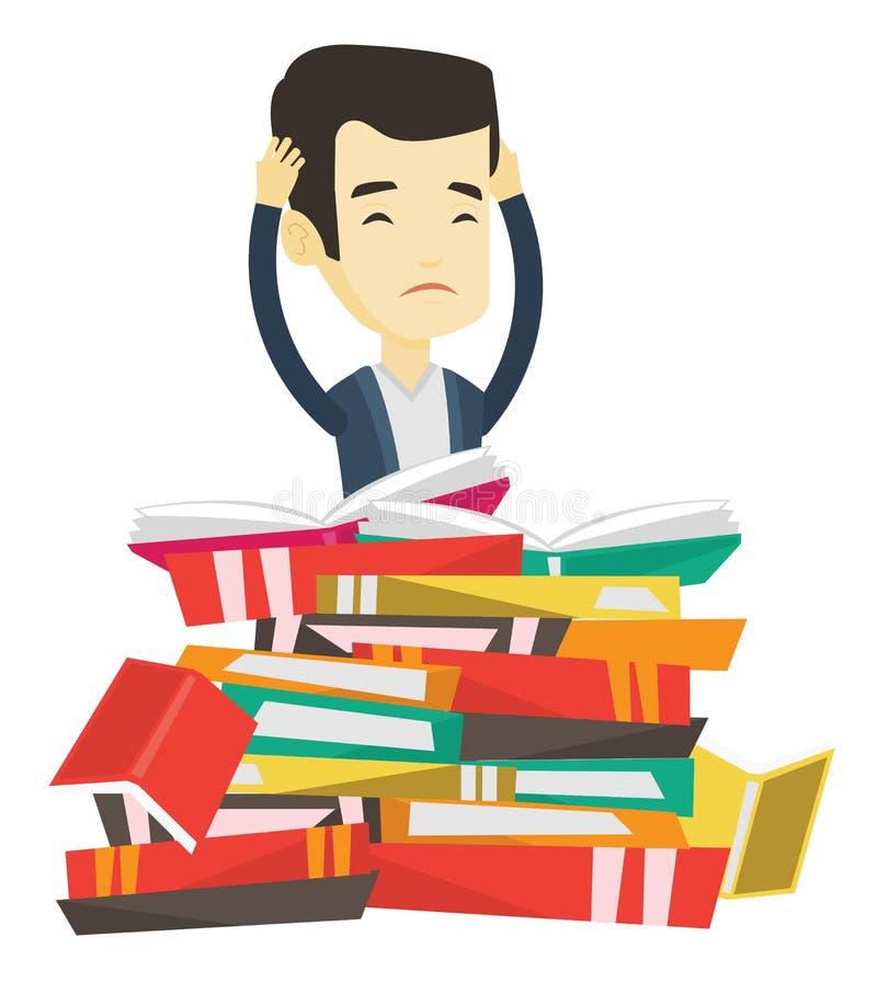 Estudiante que se sienta en la pila enorme de libros libre illustration