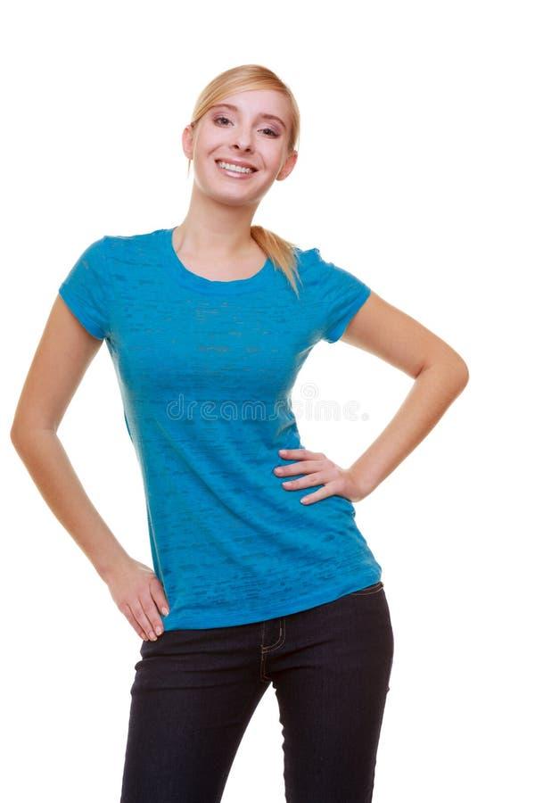 Estudiante sonriente rubio casual de la muchacha del retrato aislado. Universidad de la educación. imágenes de archivo libres de regalías
