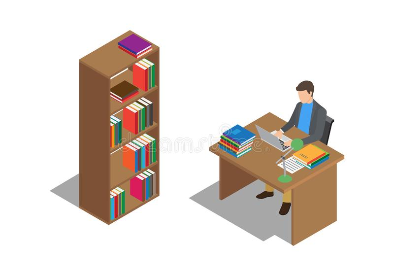 Estudiante Studies con el ordenador portátil en el escritorio en biblioteca stock de ilustración