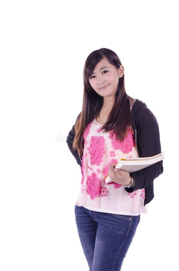 Estudiante universitario asiático de sexo femenino hermoso fotos de archivo