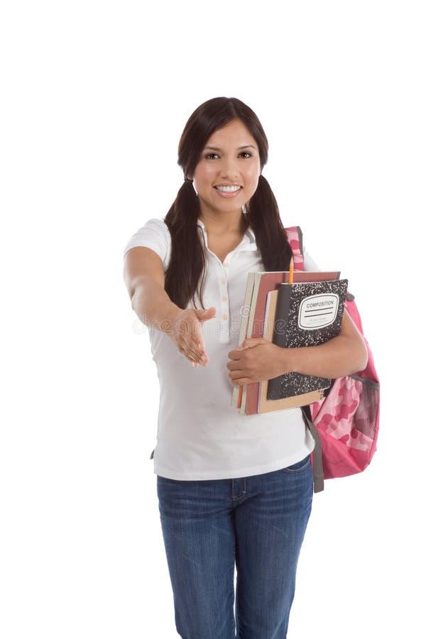Estudiante universitario cómodo el hispanico del saludo foto de archivo libre de regalías