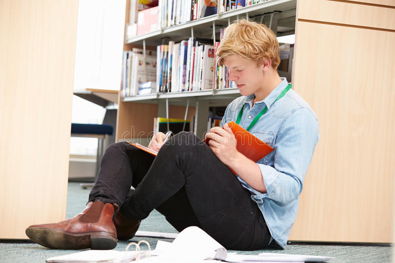 Estudiante universitario de sexo masculino Studying In Library fotos de archivo