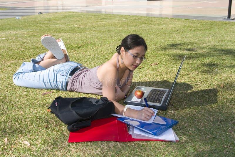 Estudiante universitario que estudia afuera fotos de archivo libres de regalías
