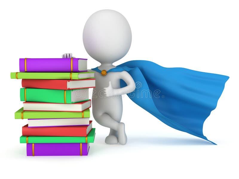 Estudiante valiente del super héroe con la capa azul stock de ilustración
