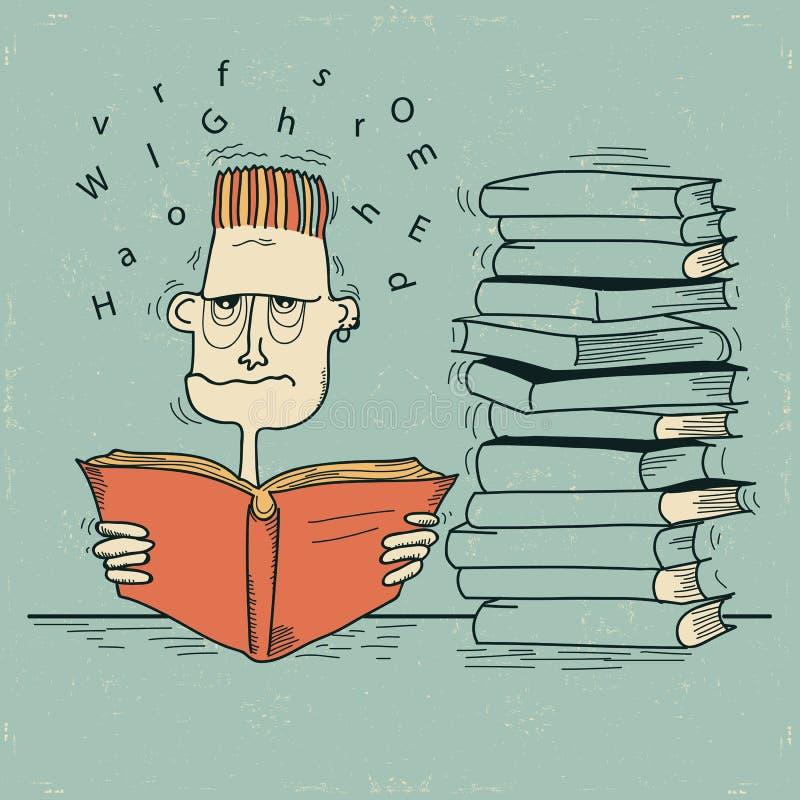 Estudiante y libros. Hombre del vector cansado de la lectura y  ilustración del vector
