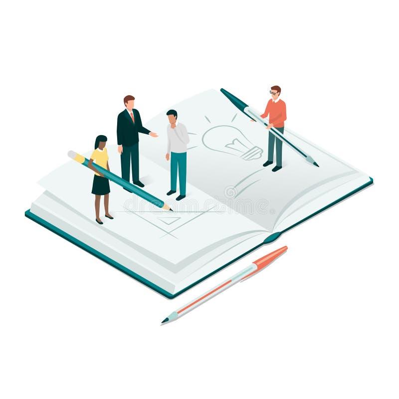 Estudiantes académicos y profesor que estudian junto libre illustration