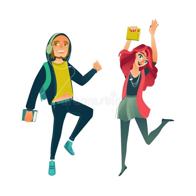 Estudiantes adolescentes jovenes de la historieta del vector que saltan el sistema ilustración del vector