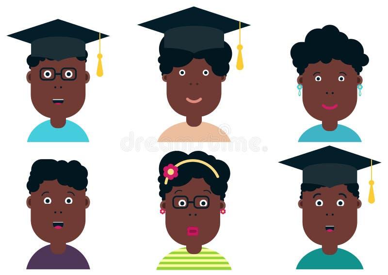 Estudiantes afroamericanos de los niños Clase de la graduación Escolares y muchachas, ejemplo del vector Estudiantes de la gradua stock de ilustración